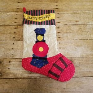 Vintage Quilted Christmas Stocking Santas Express